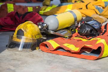firefighter equipment prepare for operation