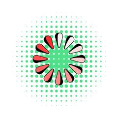 Loading process circular icon, comics style