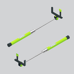 Vector illustration monopods with phones for selfie. Selfie stick.  Flat 3d vector isometric illustration. An extensible selfie stick with an adjustable clamp on the end.
