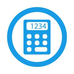 Icono plano calculadora en circulo color azul