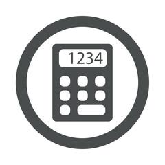 Icono plano calculadora en circulo color gris