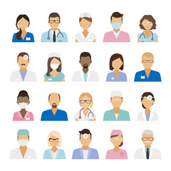 Medical staff icons. Doctors and nurses medical staffs avatars. Vector illustration