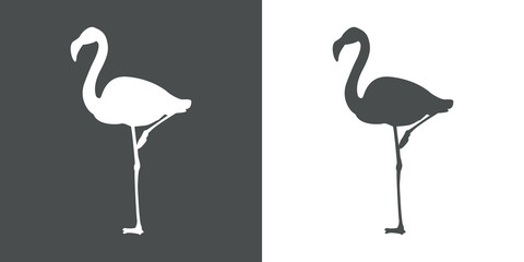 Icono plano flamingo con color gris