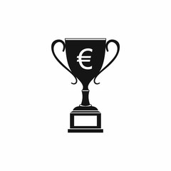 Winner cup with euro sign icon, simple style