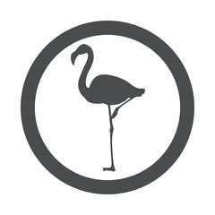 Icono plano flamingo en circulo color gris