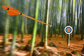 Arrow moving through air to target with radial motion blur, part photo, part 3D rendering