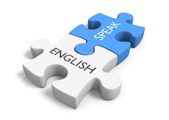 Two connected puzzle pieces with the words speak and English, 3D rendering
