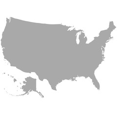 USA map in dark gray on a white background