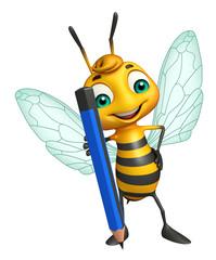 fun Bee cartoon character with pencil
