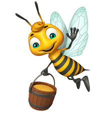 cute Bee cartoon character with honey pot