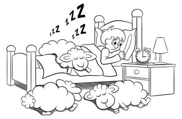 Schafe schlafen auf dem Bett eines schlaflosen Mannes