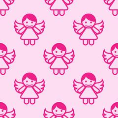 Icono plano patrón con angel fondo rosa