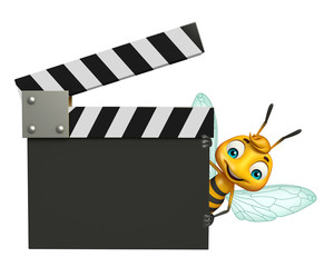 Bee cartoon character with clapper board