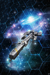 Wall Mural - spaceship and space tactical grid