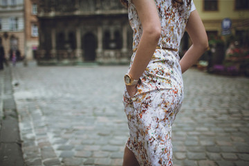 Lady cross the old street stylish