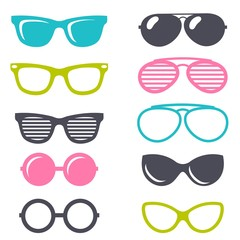 colorful cartoon retro sunglasses set
