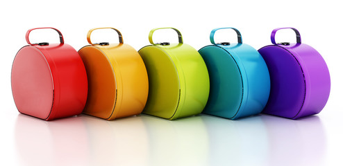 Multi colored handbags