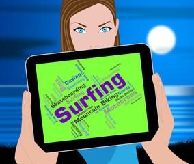 Surfing Word Represents Ocean Surfer And Boardsport