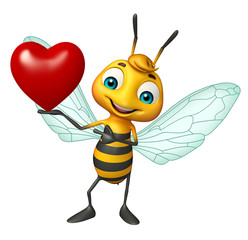 fun Bee cartoon character with heart