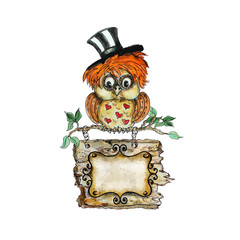 Watercolor hand drawn  isolated Owl character cartoon with banner