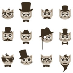 hipster cat icons set
