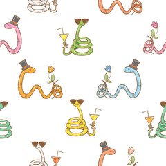 Seamless pattern with cute cartoon snakes in sunglasses with cocktail on a white background. Vector image.
