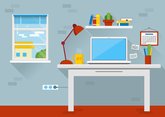 Flat design vector illustration of modern office interior. Creative cartoon office workspace with computer, calendar, books, plants, mug. Flat minimalistic style and color, long shadows.
