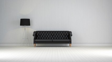 black  vintage sofa on the room 3d rendering