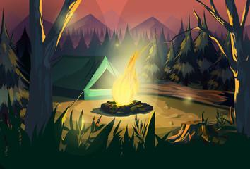 Illustration of a campfire