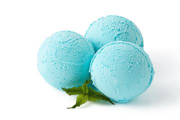 Blue ice cream balls isolated
