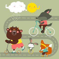 Kids transport collection with cute animals