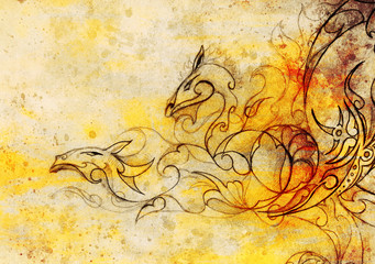 drawing of ornamental dragon on old paper background  and sepia color structure.