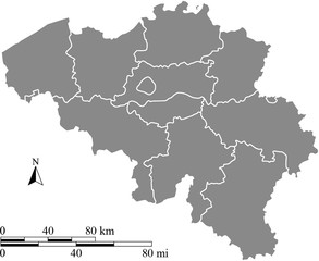 Belgium map vector outline with scales of miles and kilometers in gray background
