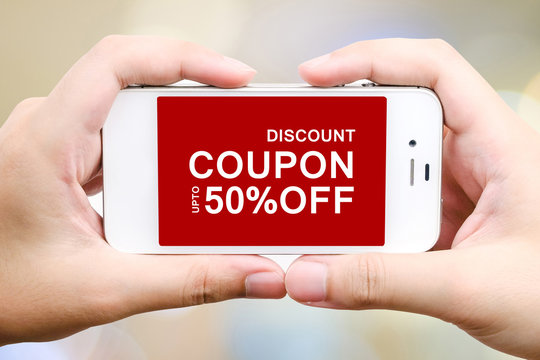 Coupon discount on smart phone screen, digital marketing