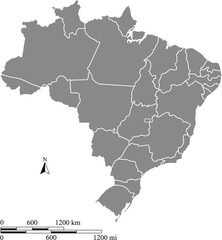 Brazil map vector outline with scales of miles and kilometers in gray background