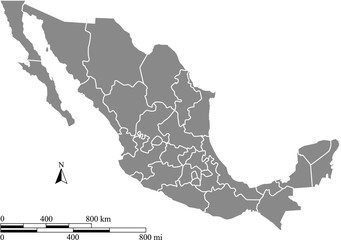 Mexico map vector outline with scales of miles and kilometers in gray background