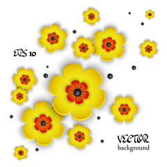 3d vector background with voluminous flowers. Floral background. Design elements. Hand drawn. Abstract shape.