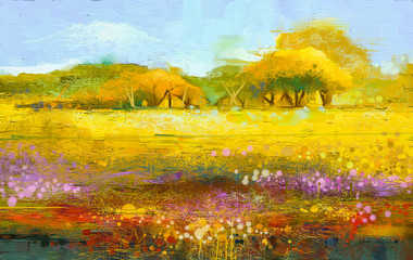 Photo Stands Melon Abstract colorful oil painting landscape on canvas. Semi- abstract image of tree and field. Yellow and red wildflowers with blue sky. Spring season nature background