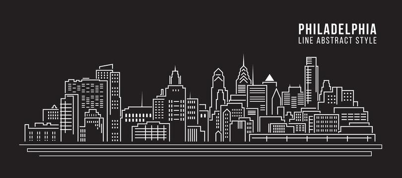 Cityscape Building Line art Vector Illustration design - Philadelphia city