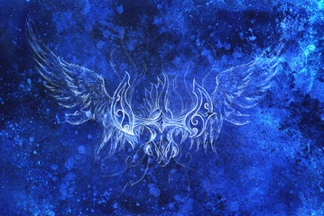 Drawing of ornamental phoenix. computer collage and blue color structure. Winter effect.