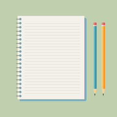 Flat vector notebook with pencils