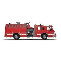 Fire Rescue Truck isolated on white. 3D Illustration