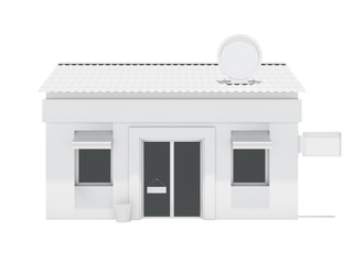 White store building with labels