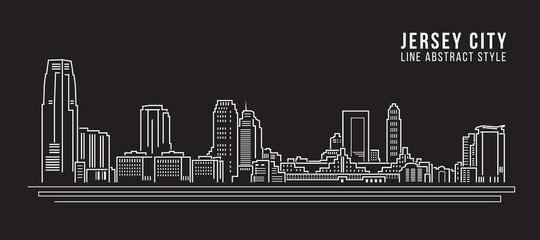 Cityscape Building Line art Vector Illustration design - Jersey City