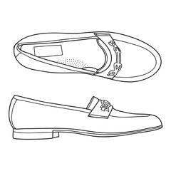 Loafers shoes. Casual footwear. Vector doodle illustration