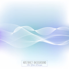 Abstract vector background. Waved lines for card, brochure, website, flyer design. Elegant background for business presentations. White and light blue colors