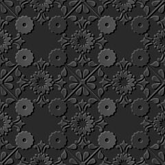 Seamless 3D dark paper cut art background 379 cross round vintage flower