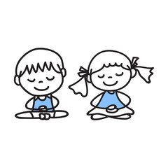 hand drawing cartoon people meditation