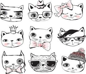 Set of cute cats portraits