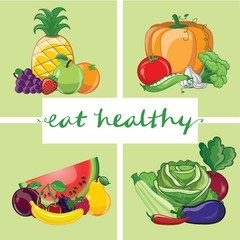 Eat healthy. Banner with hand-lettering eat healthy text on green background with different fruits and vegetables - vector illustration